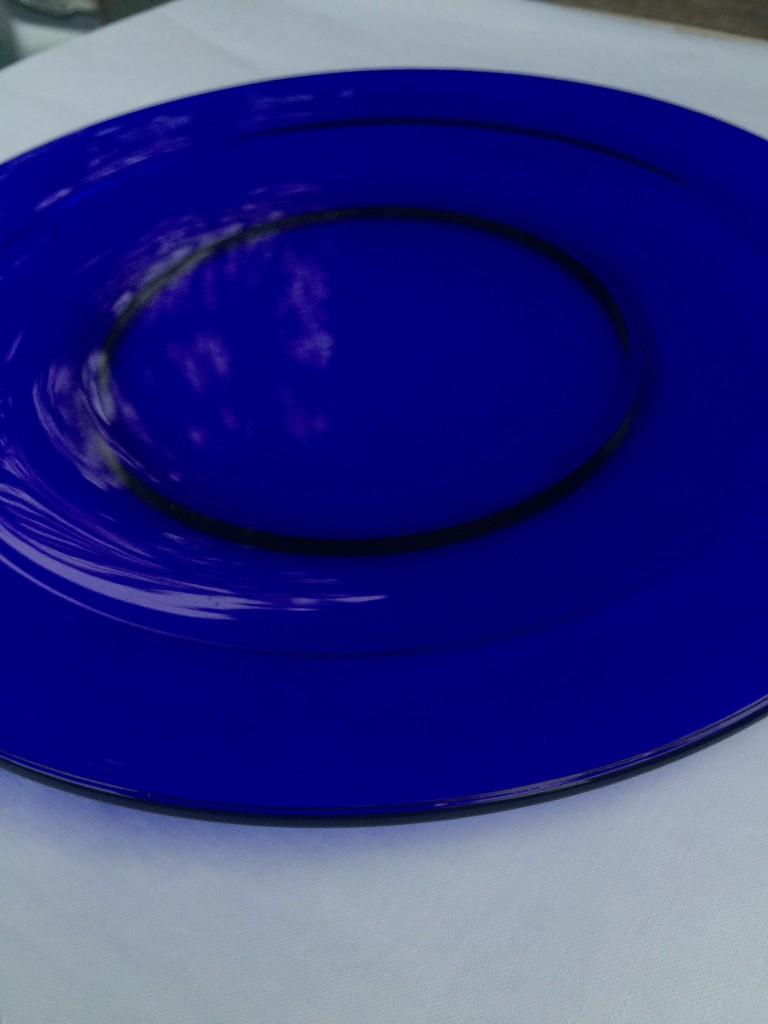 cobalt glass dinner plate