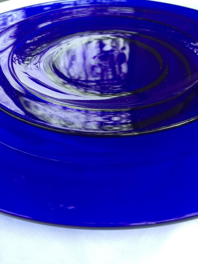 cobalt glass plates salad and entree